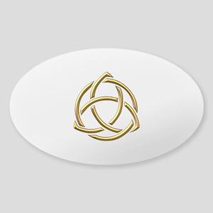 """Golden """"3-D"""" Holy Trinity Symbol 1 Sticker (Oval)"""