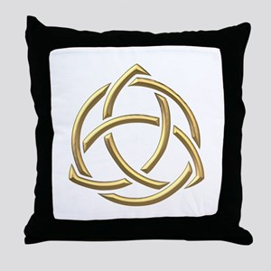 "Golden ""3-D"" Holy Trinity Symbol 1 Throw Pillow"