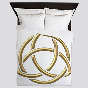 "Golden ""3-D"" Holy Trinity Symbol 1 Queen Duvet"