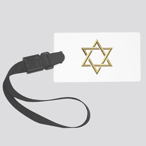 """Golden """"3-D"""" Star of David Large Luggage Tag"""