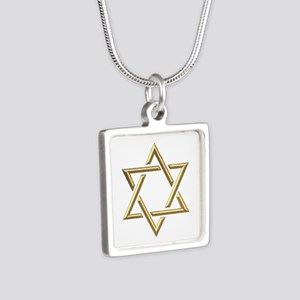"Golden ""3-D"" Star of David Silver Square Necklace"