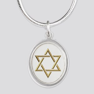 """Golden """"3-D"""" Star of David Silver Oval Necklace"""