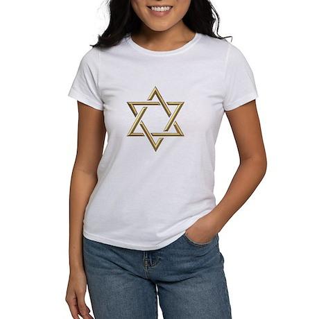 """Golden """"3-D"""" Star of David Women's T-Shirt"""
