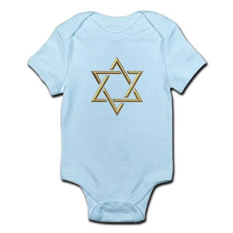 """Golden """"3-D"""" Star of David Infant Bodysuit"""