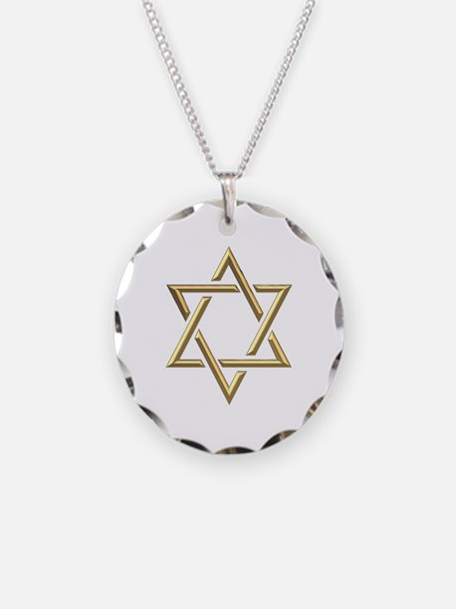 "Golden ""3-D"" Star of David Necklace"