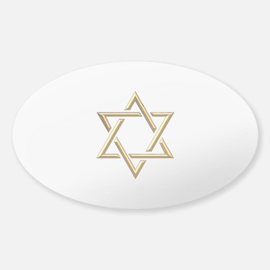 "Golden ""3-D"" Star of David Sticker (Oval)"