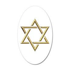 """Golden """"3-D"""" Star of David Wall Decal"""