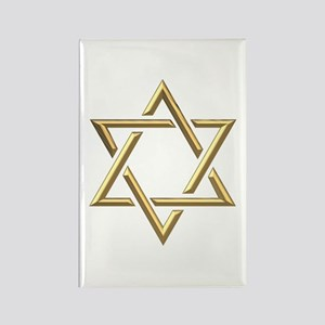 "Golden ""3-D"" Star of David Rectangle Magnet"