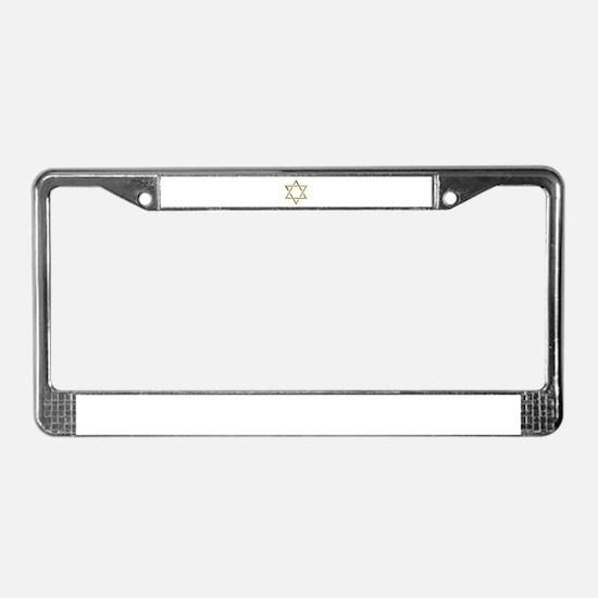 """Golden """"3-D"""" Star of David License Plate Frame"""