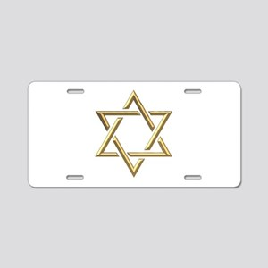 "Golden ""3-D"" Star of David Aluminum License Plate"