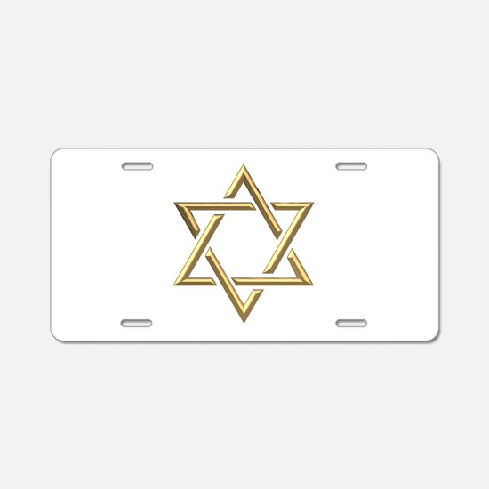 "Golden ""3-D"" Star of David Aluminum License Plate"