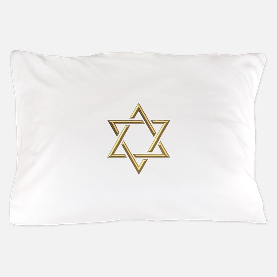 """Golden """"3-D"""" Star of David Pillow Case"""