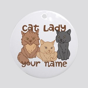 Personalized Cat Lady Ornament (Round)