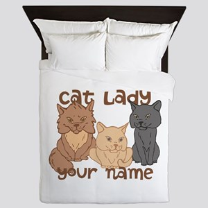 Personalized Cat Lady Queen Duvet