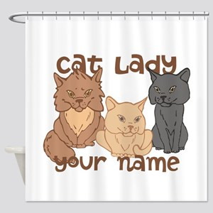 Personalized Cat Lady Shower Curtain