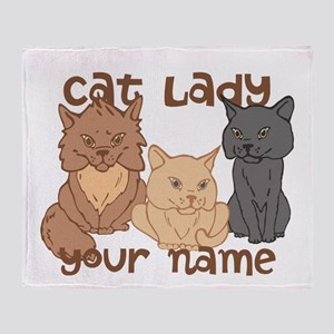 Personalized Cat Lady Throw Blanket