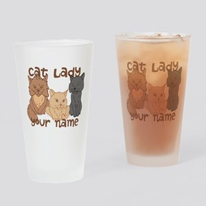Personalized Cat Lady Drinking Glass