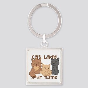 Personalized Cat Lady Square Keychain