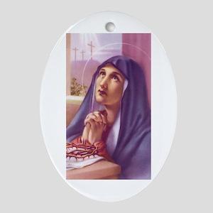 Sorrowful Mary Oval Ornament