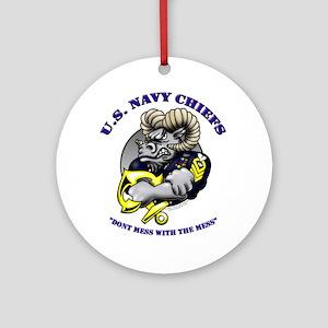 Navy CPO Ram Logo Ornament (Round)