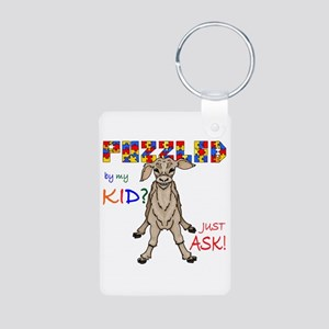 Puzzled? Just Ask! Aluminum Photo Keychain