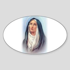 Virgin Mary - Queen of Sorrow Oval Sticker