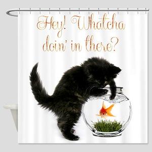 Cute Black Kitten Shower Curtain