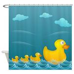 Yellow Rubber Duckies Shower Curtain