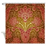 Red and Golf Damask Tile Shower Curtain