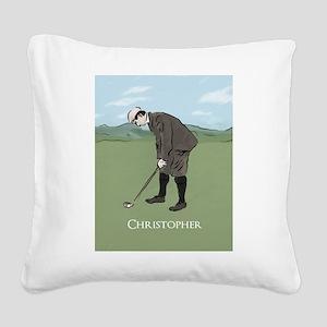 Personalized Vintage golf scene Square Canvas Pill