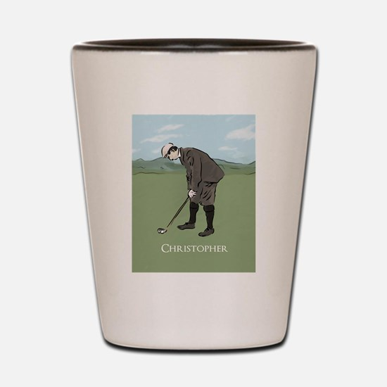 Personalized Vintage golf scene Shot Glass