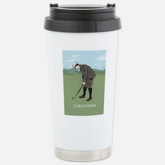Personalized Vintage golf scene Travel Mug