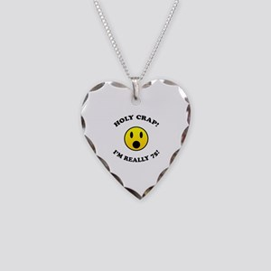 Holy Crap I'm 75! Necklace Heart Charm