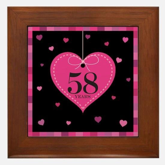 58th Anniversary Heart Framed Tile
