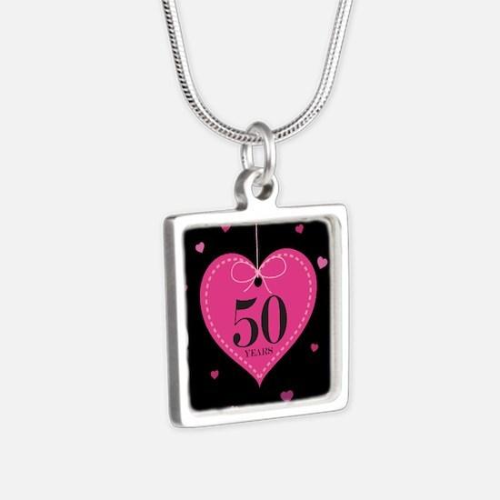 50th Anniversary Heart Silver Square Necklace