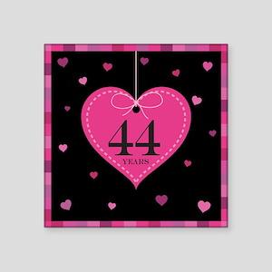 """44th Anniversary Heart Square Sticker 3"""" x 3"""""""