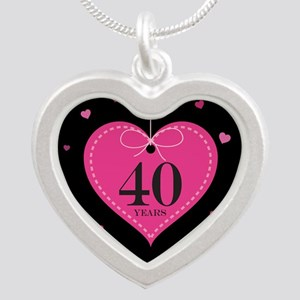40th Anniversary Heart Silver Heart Necklace