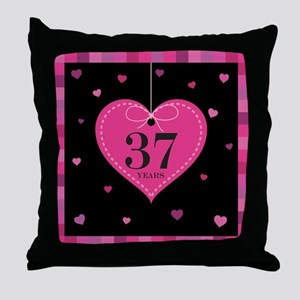 37th Anniversary Heart Throw Pillow