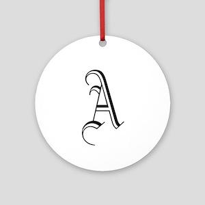 Blackletter Monogram A Ornament (Round)