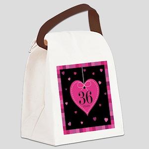 36th Anniversary Heart Canvas Lunch Bag
