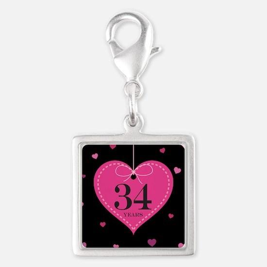 34th Anniversary Heart Silver Square Charm