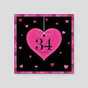 """34th Anniversary Heart Square Sticker 3"""" x 3"""""""