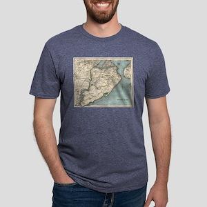 Vintage Map of Staten Islan Mens Tri-blend T-Shirt