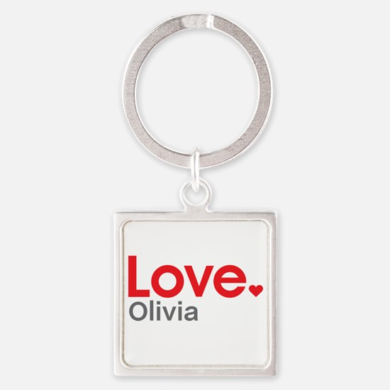 Love Olivia Square Keychain