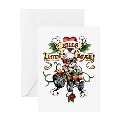Love Kills Fear Skully Quad Greeting Card