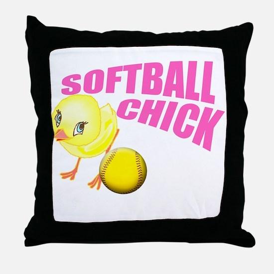SoftballChick copy Throw Pillow