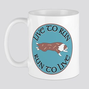 Red Merle BC Live To Run Logo Mug