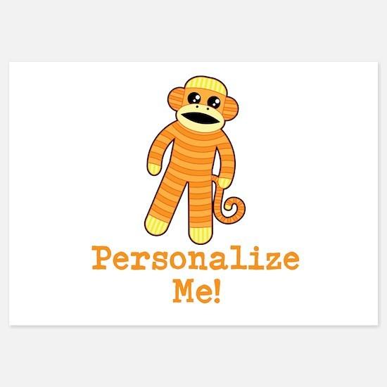Orange Sock Monkey Invitations