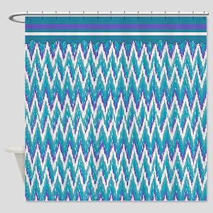 IKat ZigZag Purple Turquoise Shower Curtain