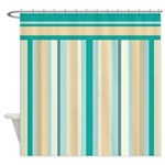 Teal and Neutral Stripes Shower Curtain